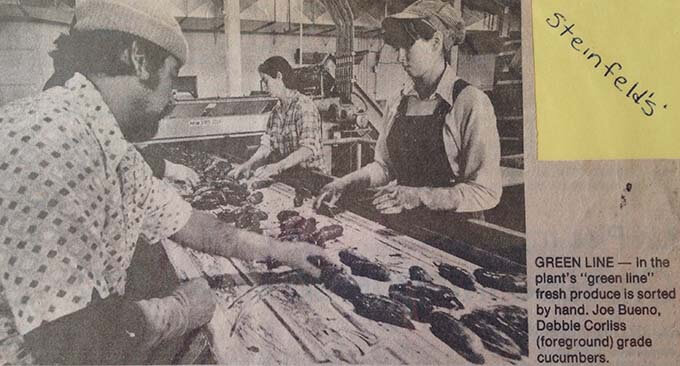 On the line at Steinfield's Pickle Plant. This picture was taken by the Oregonian Newspaper. That's me with the hat. I think I was 17 years old.