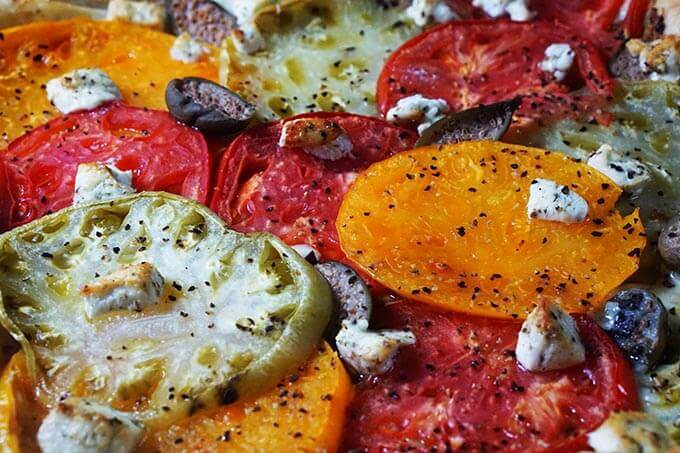 A closeup of the tomato tart, showing a rainbow of tomatoes!