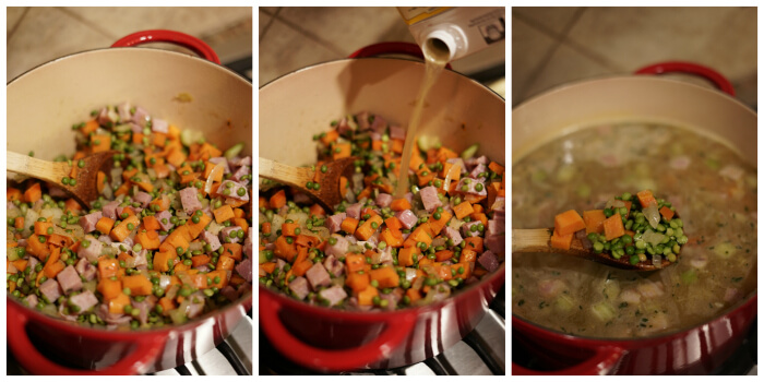 Three additional steps showing how to make split peas soup.