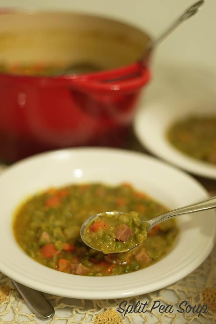 A closeup spoonful of split pea soup. #BowlMeOver #SplitPeaSoup