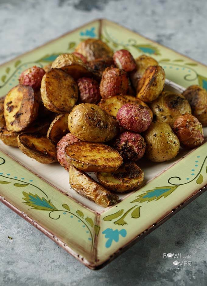 Roasted Radishes Recipe with potatoes on green plate