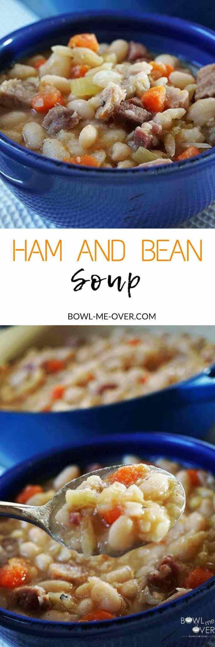 The blue bowls full of hearty Navy Bean Soup with Ham.