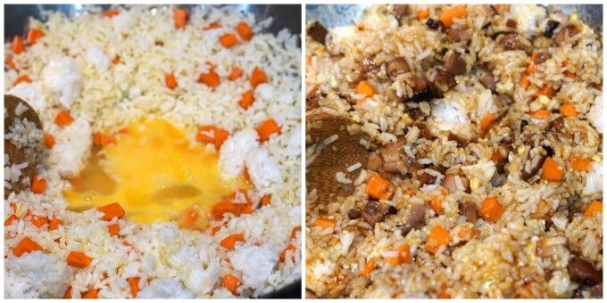 Steps to make chicken fried rice recipe. Adding eggs, adding soy sauce.