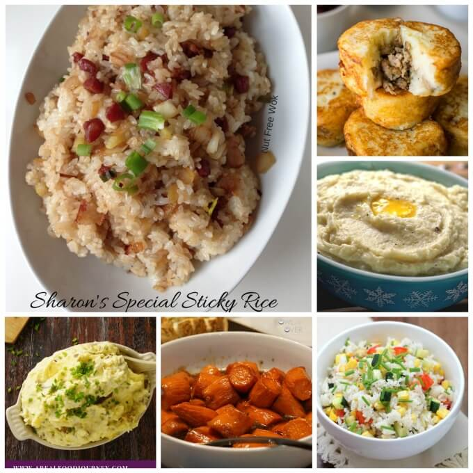 A collage with photos of sweet potatoes, rice and dumpling recipes!
