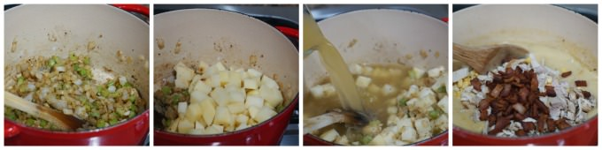 Collage with step-by-step directions to make turkey chowder.