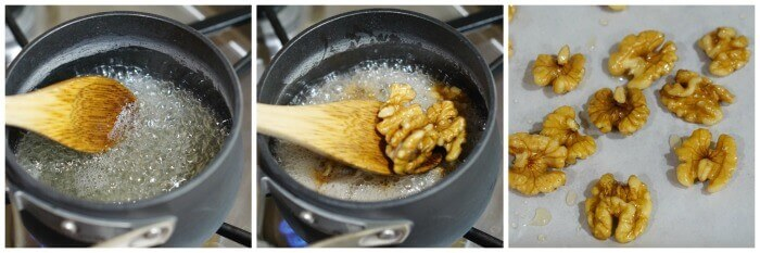 Step by step directions to make candied walnuts. First heat the water and shrimp. When boiling add the walnuts. Remove and allow them to cool.