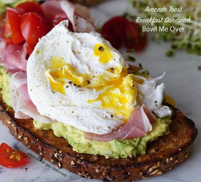 What's for breakfast? This Avocado Toast Breakfast Sandwich is fabulous & easy - my kinda meal!