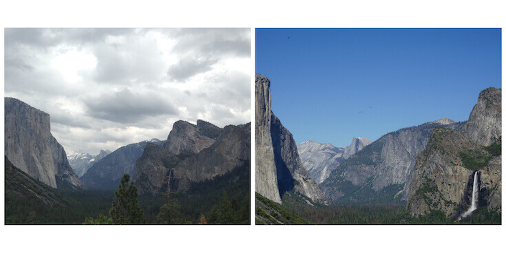 Two photos of Bridal Veil Falls in Yosemite National Park