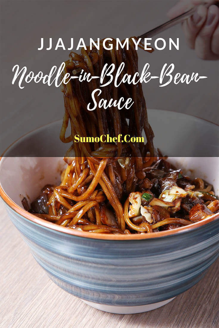 Korean Black Bean Noodles in bowl