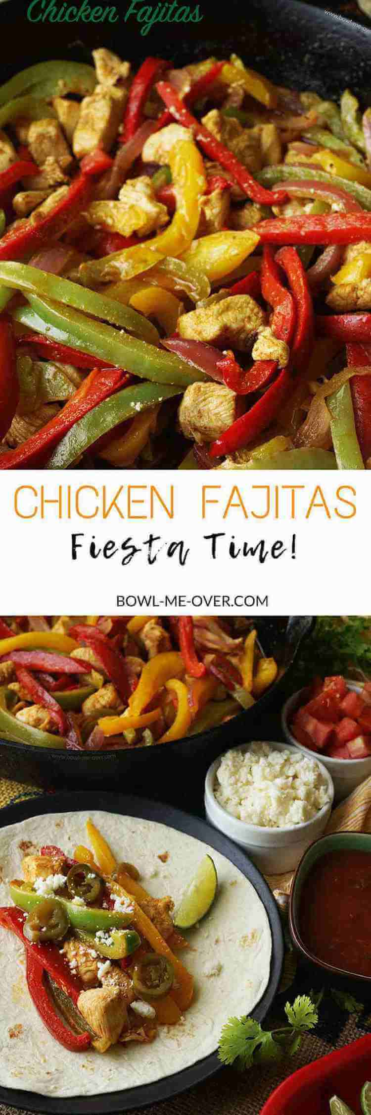 Having a party? Start your fiesta off with a bang by serving Chicken Fajitas! Crowd pleasing meal great for a party or for a fun night at home, flavorful and fabulous!