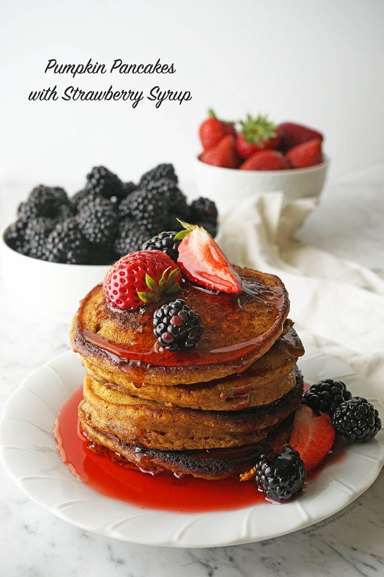 Pumpkin Pancakes with Strawberry Syrup is a delicious combination of flavors!