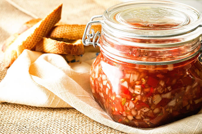 Relish in glass jar with toast points.