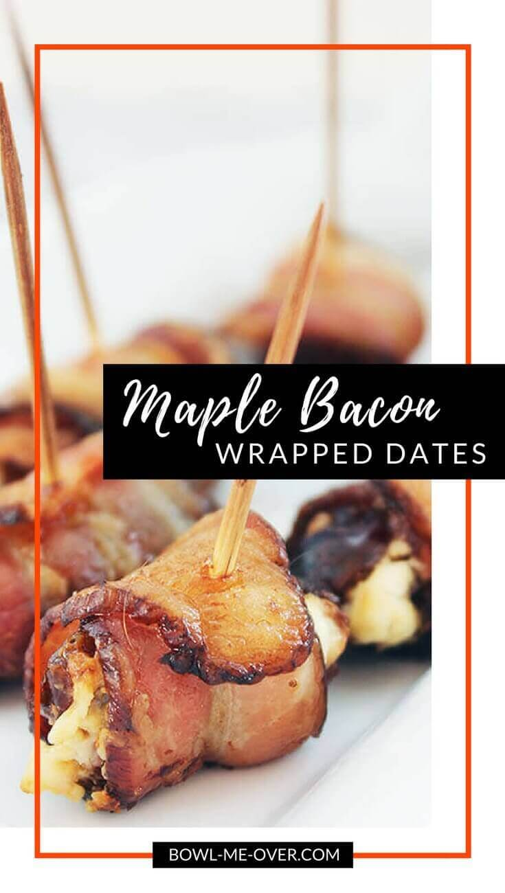 Maple Bacon Wrapped Dates Stuffed with Goat Cheese - Salty, sweet, creamy and delicious, these maple wrapped bacon dates will make for some great party food throughout the festive season! #BaconWrappedDates #BowlMeOver #EasyAppetizer
