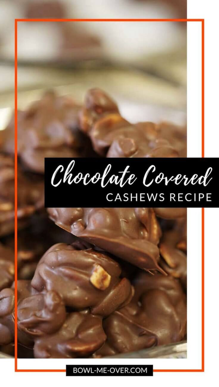 A delicious mound of chocolate covered cashews.
