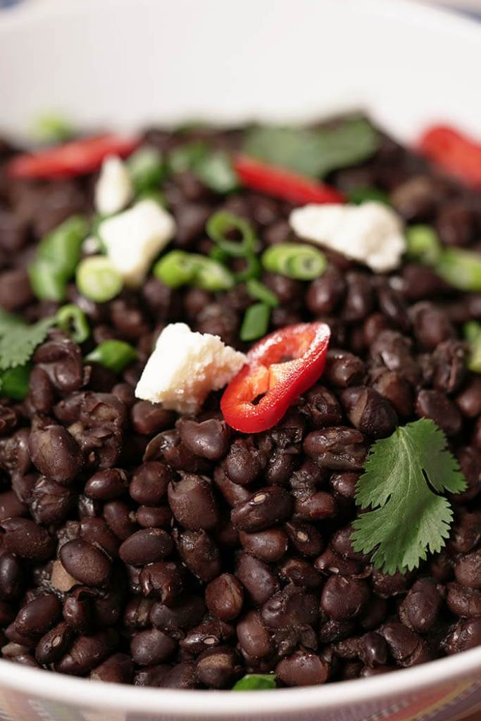 Instant Pot Side Dishes - Black Beans in white bowl