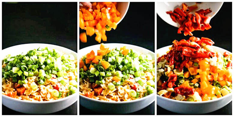Three bowls with step by step directions to make bow tie salad