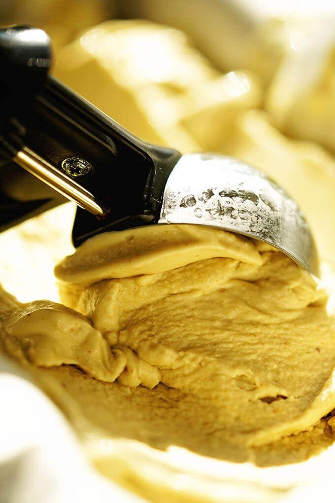 Scoop of fig ice cream.