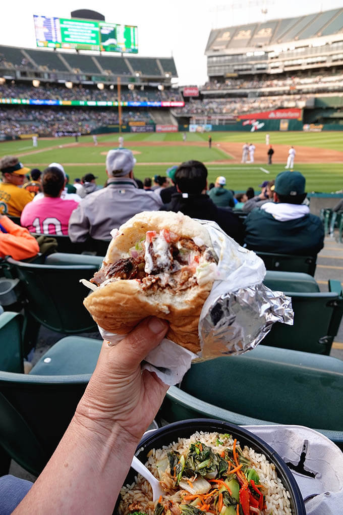 Feasting on a Chicken Lamb Shawarma at the game on family fun night.