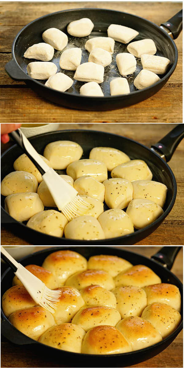 Step by step directions to make rolls using frozen dough.