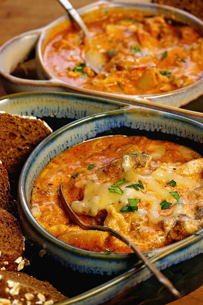 Two bowls filled with easy lasagna soup recipe