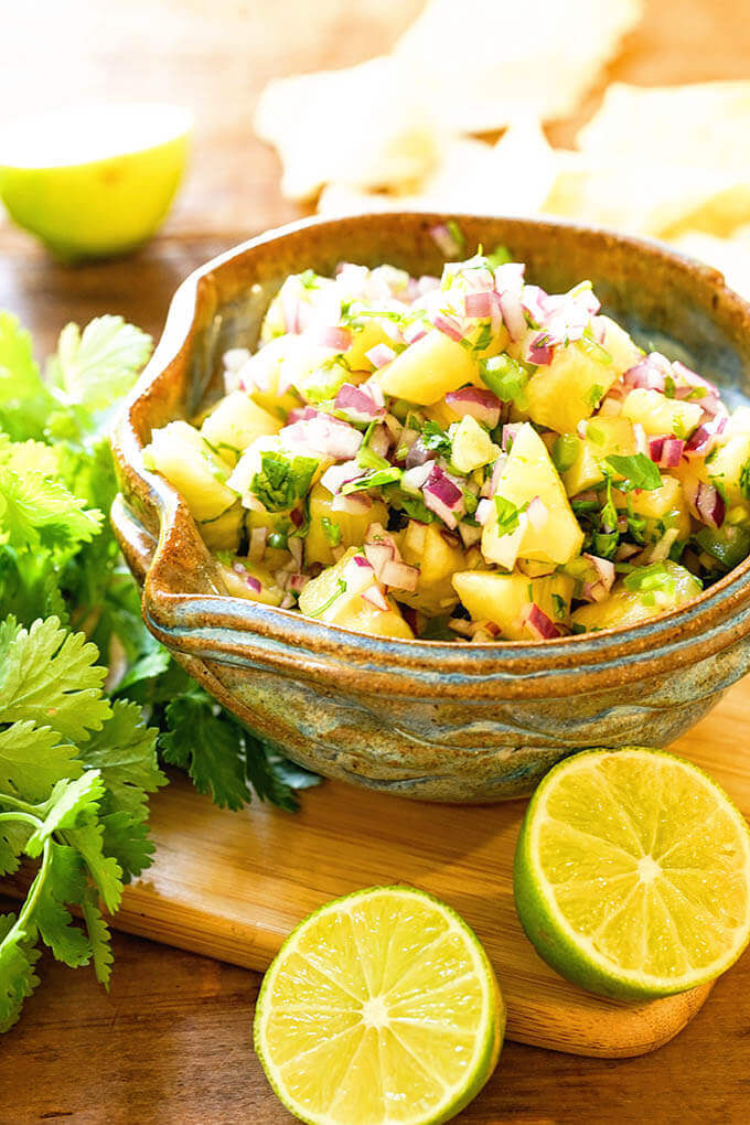 Pineapple Salsa Recipe in blue bowl with chips