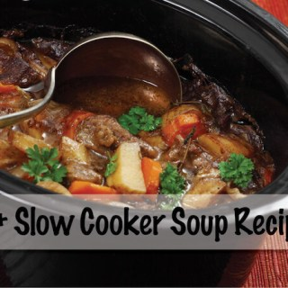 Slow Cooker filled with Beef Soup with ladle.