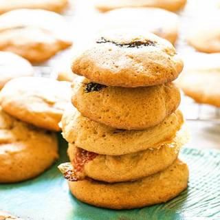 Brown Sugar Cookies stacked on blue plate.