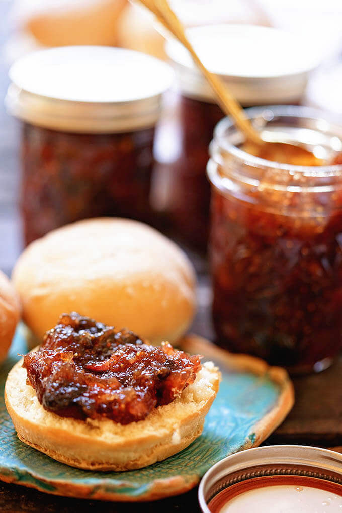 Fig jam on roll with jam.