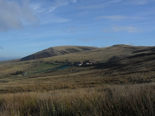 Looking back at Pendle and the incongruous ski slope.