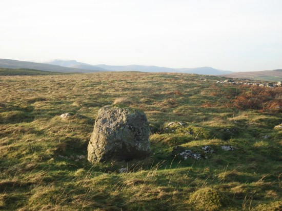 Erratic boulder, Knipescar and distant Blencathra.