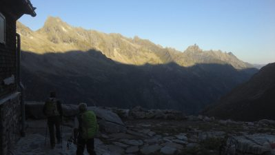 The long traverse towards the pass in early morning light.