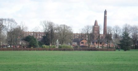 Haslam Park with the iconic Tulketh Cotton Mill in the background.