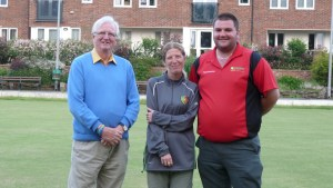 Pete Schofield (Chairman -Horwich RMI Bowling Section), Sue Ainscough (Competition Organiser) and winner Wayne Ditchfield