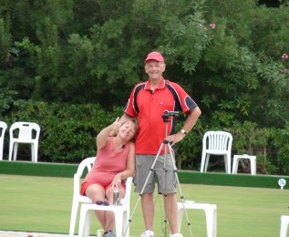 Lynn Pritchatt and Mel Evans MBE at the Vilamoura Bowling Club
