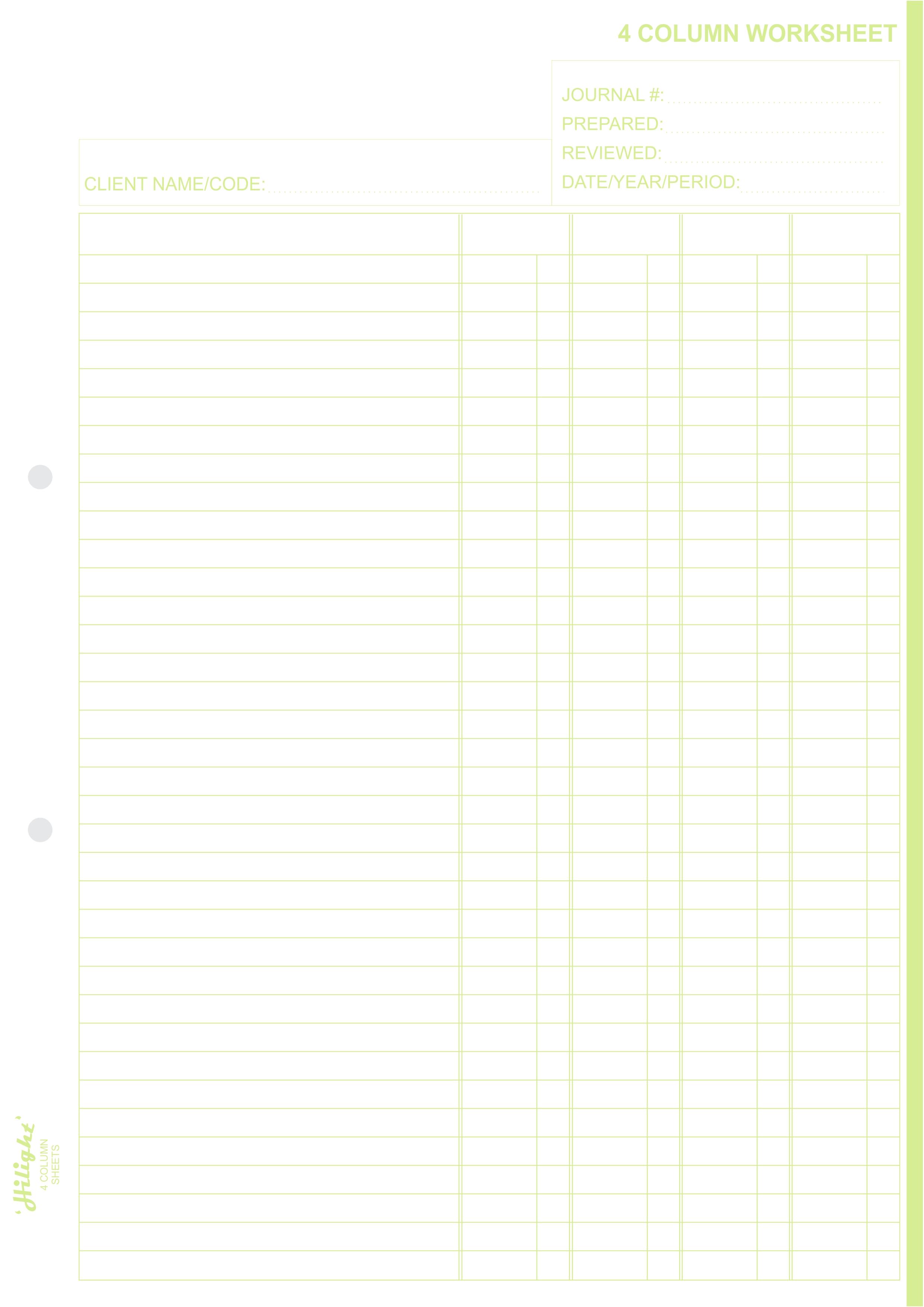 4 Column Work Sheet Pads