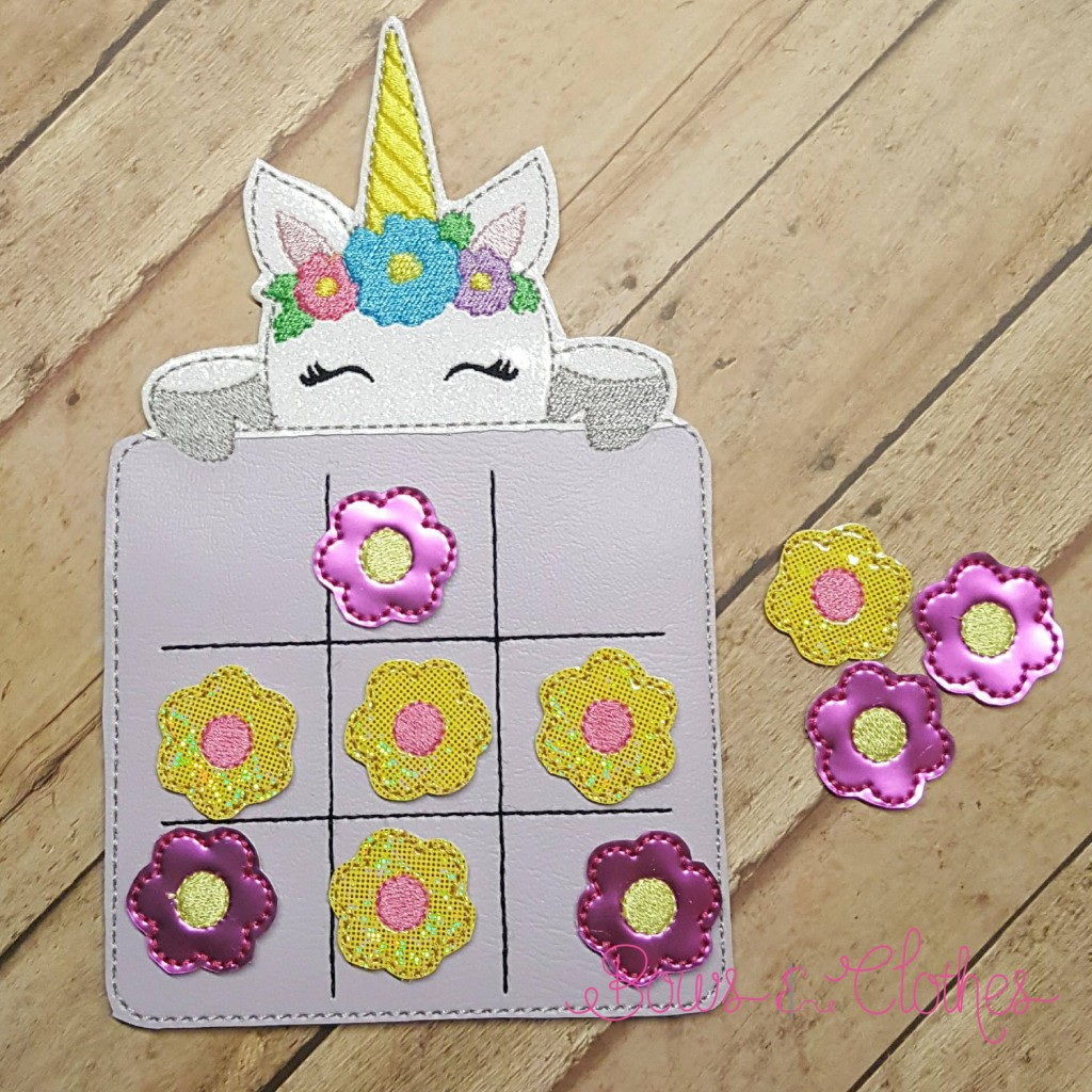 Unicorn Face Tic Tac Toe and Pieces