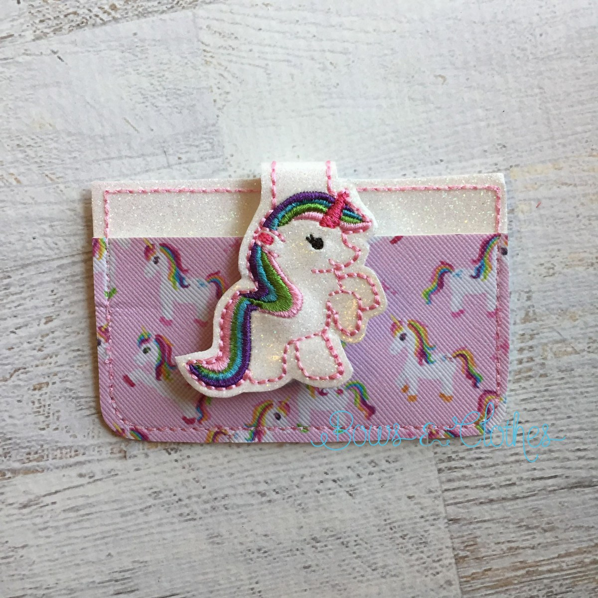 Unicorn 1 Fold Over Feltie Credit Card Holder