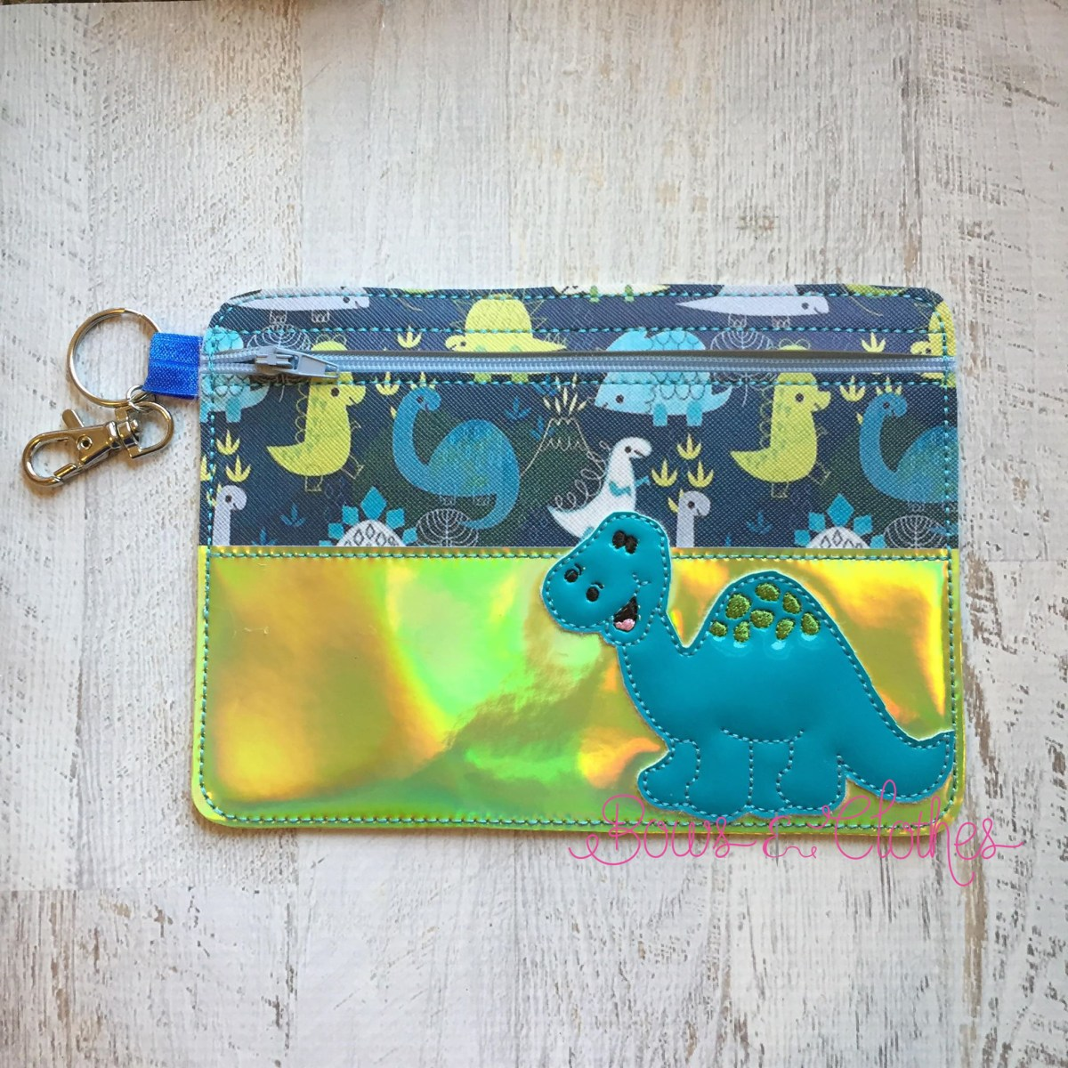 Dino Top Half Vinyl Zipper Purse