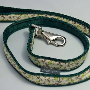 Doggy Chic Cotton Cream Floral Lead on Webbing with Metal Hardware Green