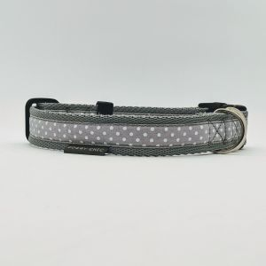 grey polka dot handmade collar