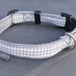 grey gingham collar for your dog