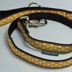 Ochre polka dot lead for your dog