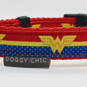 doggy chic wonder woman adjustable dog collar