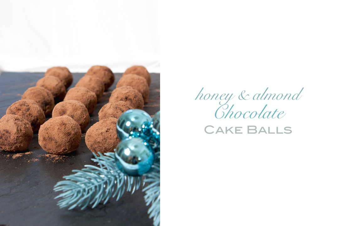 honey almond chocolate cake balls