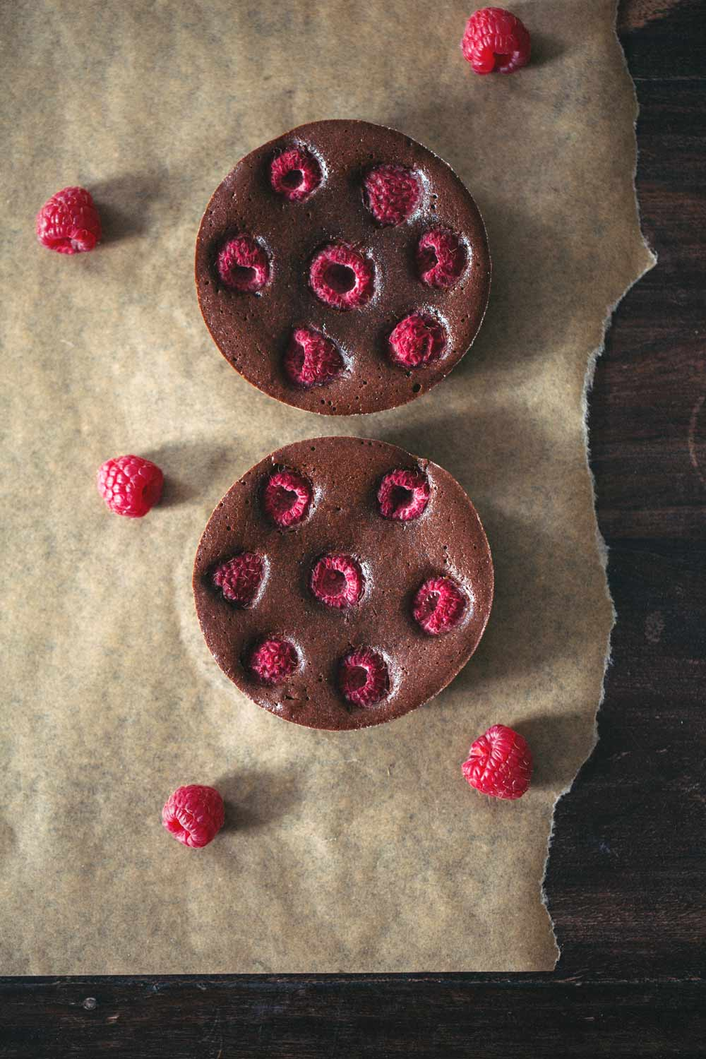 brownie raspberry tart for two