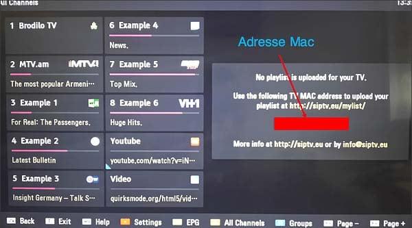 smart iptv adresse mac