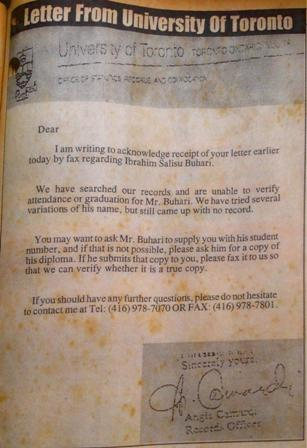 Letter from University of Toronto