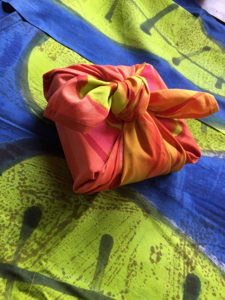 handpainted Furoshiki, or Japanese wrapping cloths.