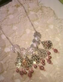 Necklace Steampunk Filigree & Rhodonite