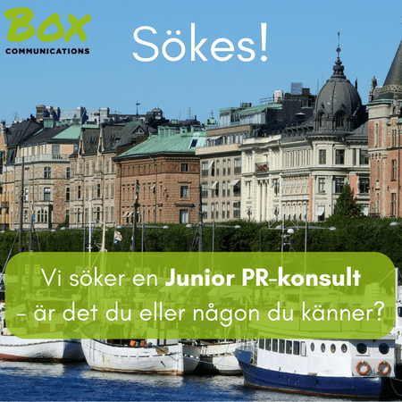 Box Communications söker en junior PR-konsult